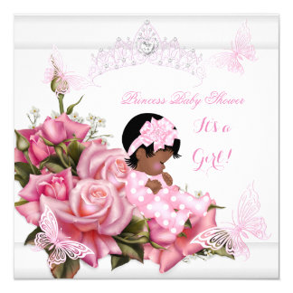 """African American Baby Shower Girl Butterfly Pink W 5.25"""" Square Invitation Card"""