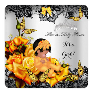 """African American Baby Shower Girl Butterfly Yellow 5.25"""" Square Invitation Card"""