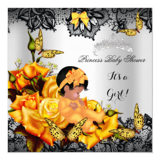 "African American Baby Shower Girl Butterfly Yellow 5.25"" Square Invitation Card"