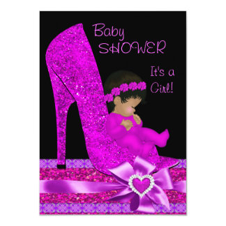 African American Baby Shower Girl Glitter Shoe 4.5x6.25 Paper Invitation Card