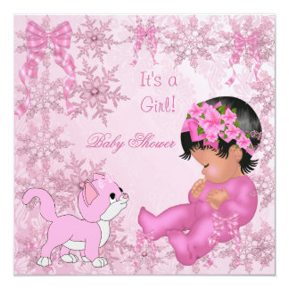 African American Baby Shower Girl Kitten Pink Card