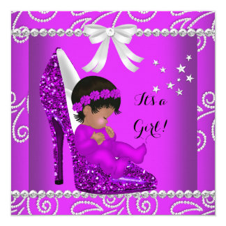 "African American Baby Shower Girl Pink Shoe 5.25"" Square Invitation Card"