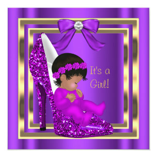 African American Baby Shower Girl Purple Shoe 5.25x5.25 Square Paper Invitation Card