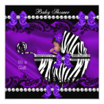 "African American Baby Shower Girl Purple Zebra 5.25"" Square Invitation Card"