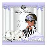 African American Baby Shower Girl Purple Zebra Announcements