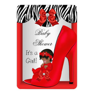 "African American Baby Shower Girl Red Baby Shoe 2 5"" X 7"" Invitation Card"