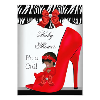 African American Baby Shower Girl Red Baby Shoe 2 4.5x6.25 Paper Invitation Card