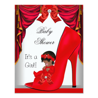 African American Baby Shower Girl Red Baby Shoe 3 4.25x5.5 Paper Invitation Card