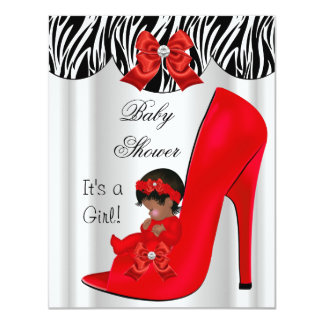 African American Baby Shower Girl Red Baby Shoe 4.25x5.5 Paper Invitation Card