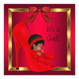 African American Baby Shower Girl Red Shoe 3 Invitations
