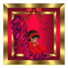 African American Baby Shower Girl Red Shoe Gold Card