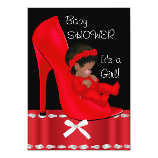 African American Baby Shower Girl Red Shoe 4.5x6.25 Paper Invitation Card