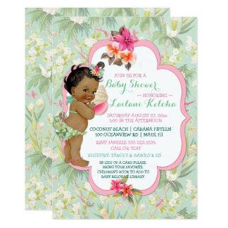 African American Baby Tropical Luau Hawaiian Card