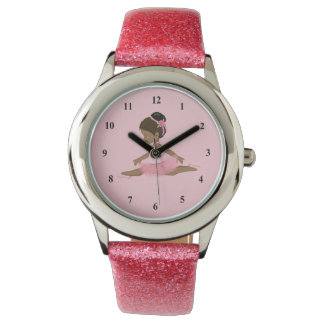African American Ballerina leaping Wrist Watches