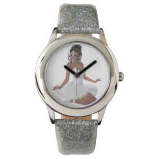 African American Ballerina Silver Glitter Watch