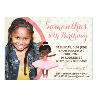 African American Ballerina Themed Party Card