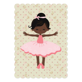 African American Ballerina Themed Party Invitation