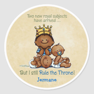 African American Big Brother - King of Twins Round Sticker