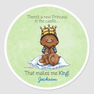 African American Big Brother - Princess Round Sticker