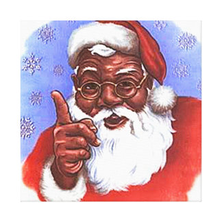 African American Black Santa Claus Christmas Canvas Print