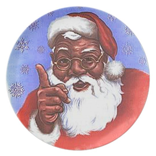 African American Black Santa Claus Christmas Plate