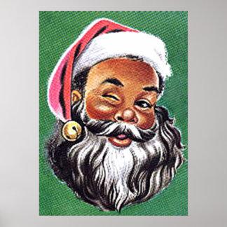African American Black Santa Claus Christmas Poster