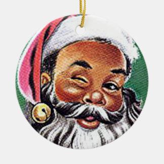 African American Black Santa Claus Christmas Round Ceramic Ornament
