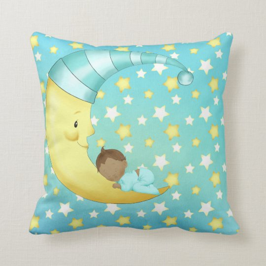 African American Blue Baby Boy Moon Stars Sleepy Throw Pillow