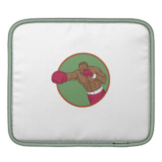 African-American Boxer Right Hook Circle Drawing Sleeves For iPads