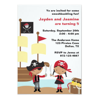 African American Boy and Girl Pirate Invitations