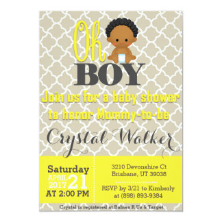 African American Boy Baby Shower Card