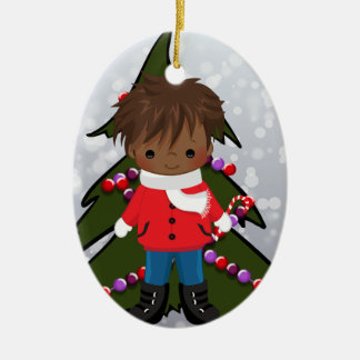 African American Boy Christmas Ornament