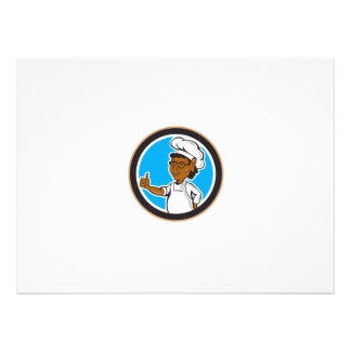 African American Chef Cook Thumbs Up Circle Personalised Invitation