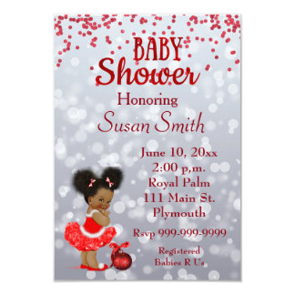 African American Christmas Baby Shower Card