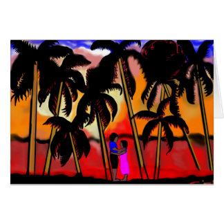 African American couple on beach with palm trees Card