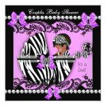 African American Couples Baby Shower Girl Zebra Custom Announcements