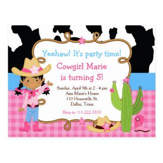 African American Cowgirl Western Birthday Party Postcard
