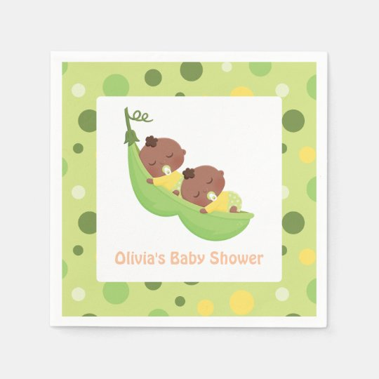 African American Cute Twins Baby Shower Napkins Disposable Napkin