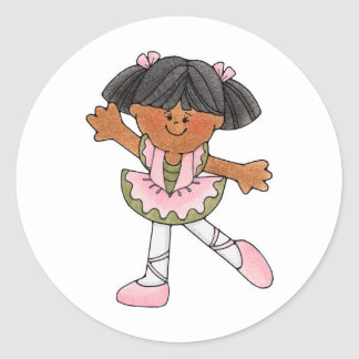African American Dancing Girl Round Sticker