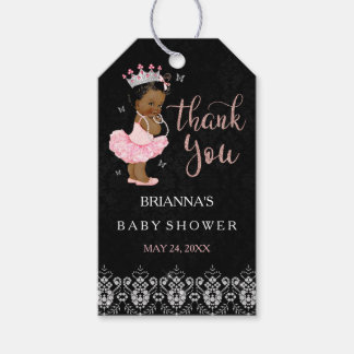 African American Diamond Princess Girl Baby Shower Gift Tags