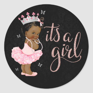 African American Diamond Princess Girl Baby Shower Round Sticker