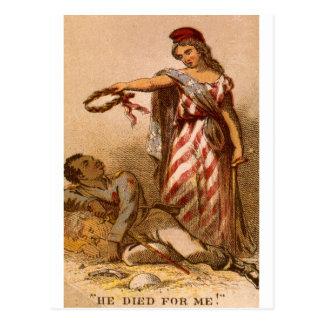 African American dying - Civil War image 1863 Postcard