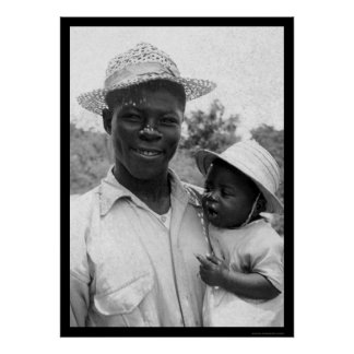 African American Father and Baby 1935 Poster