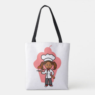 African American Female Chef with Cupcake Tote Bag