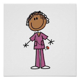 African American Female Stick Figure Nurse Poster