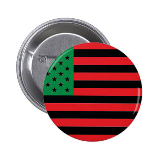 African American Flag - Red Black and Green 2 Inch Round Button
