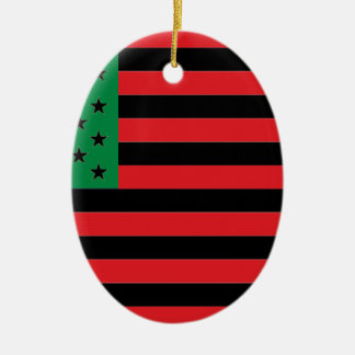 African American Flag - Red Black and Green Ceramic Ornament