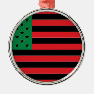African American Flag - Red Black and Green Metal Ornament