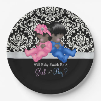 African American Gender Reveal Baby Shower Paper Plate