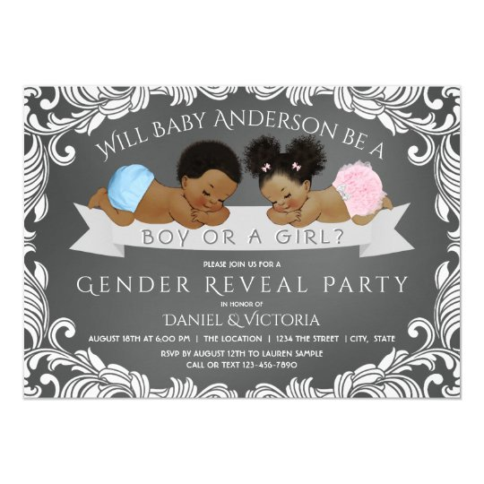 African American Gender Reveal Invitations